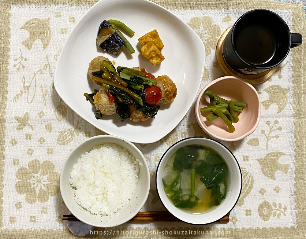 nosh(ナッシュ)のお弁当盛り付け例(肉団子の黒酢あん弁当)